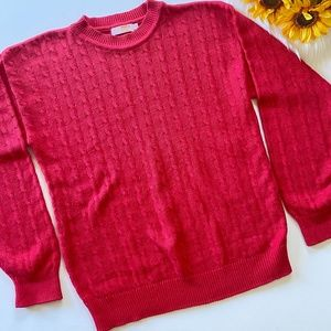 Vintage Brooks Brothers Red Cable Knit Sweater S
